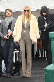 Rachel Zoe looked ultra-chic in a gray windowpane print suit.