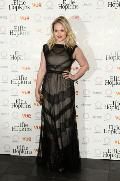 Kimberley Nixon donned this romantic lace gown to the premiere of 'Elfie Hopkins' in London.