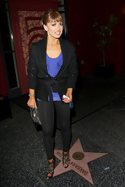 Karina Smirnoff hit the town in a pair of lace peeptoe Bridget Strass booties.