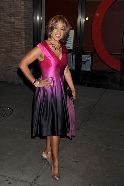 Gayle King took on the Cinderella style shoe trend in glimmering Christian Louboutin pumps. Oprah's bff paired the heels with a purple ombre cocktail dress.