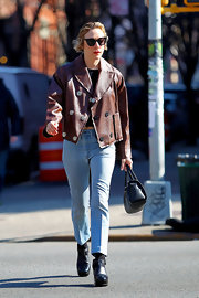 Chloe Sevigny opted for light-wash high-waisted jeans while taking a stroll through NYC.