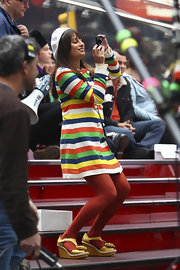Lea Michele wore yellow rosette-adorned wedges while filming 'Glee' in NYC.