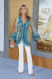 Bo Derek looked ready to fiesta at the 'Sex and the City 2' premiere in a ruffled print blouse with bell sleeves.