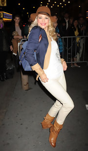 Christie Brinkley was out in NYC wearing a pair of golden brown leather boots.