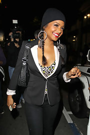 Christina Millian paired her tailored blazer with a knit beanie that's perfect for the fall season.