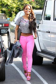 Christina Milian made a statement in these hot pink skinny jeans while out in LA.