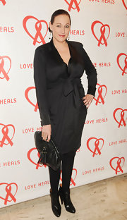 Amy Sacco opted for a classic little black dress for her red carpet look for the Love Heals gala.