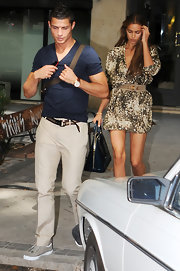Cristiano was out and about with Irina Shayk in a fitted blue shirt.