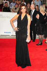 Shobna Gulati's floor grazing black evening gown displayed a modern take on classic Grecian glamour.