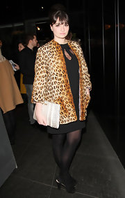 Gizzi Erskine chose this leopard print coat to pair over her LBD and top off her retro-inspired look.