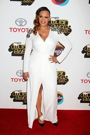 Between the beading and front slit Faith Evans really turned up the volume on the red carpet.