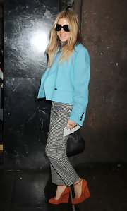 Dani Stahl rocked a pair of ankle length houndstooth trousers at the Calvin Klein Fall 2012 show.