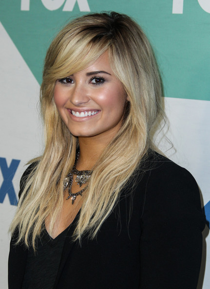 Demi Lovato Long Straight Cut with Bangs