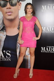 Danielle Campbell looked red hot, or should we say pink hot in this lace mini dress.