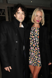 Denise van Outen donned a sexy print dress at Kimberly Walsh's birthday party.