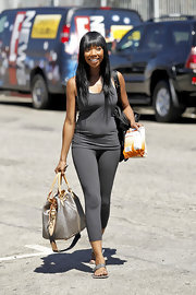 Brandy left rehearsals for 'DWTS' in a comfy all-gray ensemble paired with a leather tote.