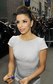 Eva Longoria arrived for an appearance on 'Good Morning America' wearing her hair in a sleek ponytail with lots of volume.