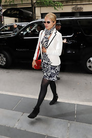 Dianna Agron arrived at a hotel wearing this black and white pattered scarf by Rag & Bone.