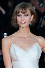 Karlie Kloss accentuated her eyes with heavy shadow when she attended the Cannes premiere of 'The Immigrant.'