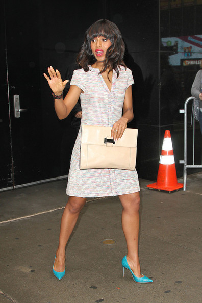 More Pics of Kerry Washington Medium Wavy Cut with Bangs (1 of 15) - Shoulder Length Hairstyles Lookbook - StyleBistro
