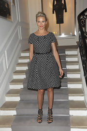 Cameron Diaz went retro in a polka-dot dress for the Christian Dior show in Paris.