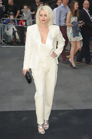 Kimberley Wyatt went for an edgy-chic look with this white pantsuit at the 'World War Z' premiere.