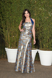 Daisy Lowe chose a shimmering printed gown for her look at the Serpentine Gallery Summer Party.