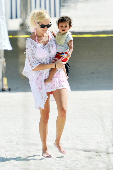 Doutzen Kroes and Son on the Beach