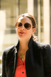Drew Barrymore chose a pair of brown aviator shades for daytime look while out and about in NYC.