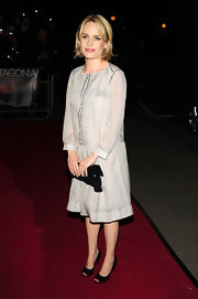 Duffy dons a sheath cocktail dress with a day feel at the premiere of 'Patagonia.'