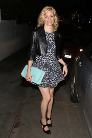 Elizabeth Banks sported a gray leopard print dress with a leather jacket while out in Hollywood.