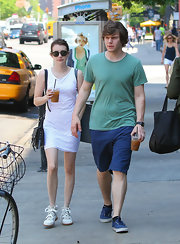 Evan Peters kept his look simple and casual while out in NYC when he sported this green tee.