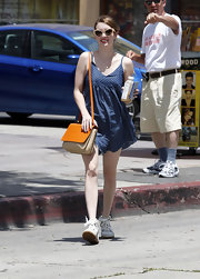 Emma Roberts looked fun and flirty in a polka dot denim romper, which she wore while out in Hollywood.