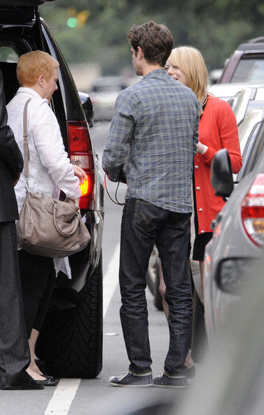 Andrew Garfield was spotted in his favorite pair of dark indigo jeans.