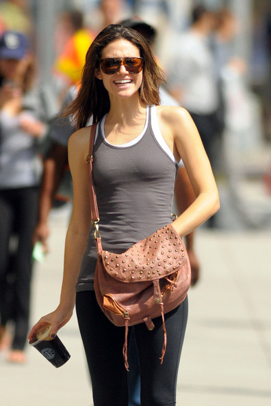 Emmy Rossum Studded Shoulder Bag
