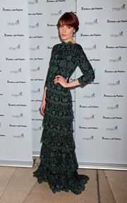 Florence Welch was the picture of elegance in this green lace tiered gown at Marquee Nightclub.
