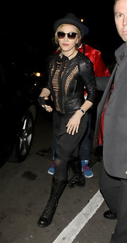 Madonna wore a uniquely textured leather jacket while out in London.