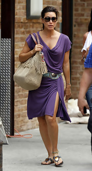Gina Gershon was spotted out and about in New York carrying a tasseled beige tote.