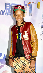 Jaden Smith's eclectic ensemble at the BET Awards consisted of a colorful leather track jacket and tiger-print pants.