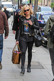 Fearne Cotton wore this cropped moto-jacket while out in London.
