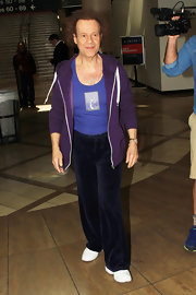 Richard Simmons traveled in style with purple velour sports pants. Would you expect anything less?