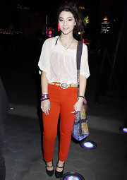 Fivel Stewart attended the premiere of 'Radio Rebel wearing a bright colored pair of pants.