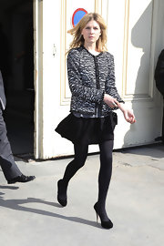 Clemence Poesy donned black suede platform pumps to the Chanel show.