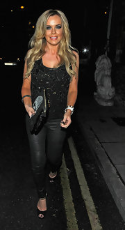 Maria Fowler was rocker-chic in black leather skinnies and a beaded tank top while out clubbing in London.