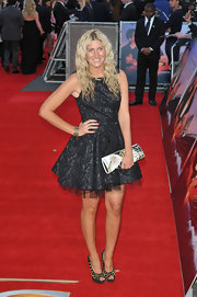 Red Carpet regular Francesca Hull chose a black floral dress featuring a fun tulle-underlay skirt to attend the 'Titanic 3D' premiere in London.
