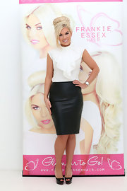 Frankie Essex's black leather skirt added just a touch of edge to her otherwise sweet and feminine look.