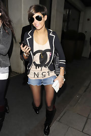 Frankie paired her funky look with a Chanel logo tank.