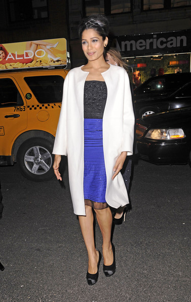 Freida Pinto Wool Coat