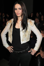 Melissa donned a frothy embroidered crop jacket for the Stephane Rolland Couture Show.