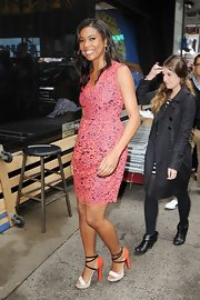 Gabrielle Union arrived at the set of 'Good Morning America' wearing a colorful pair of strappy sandals.
